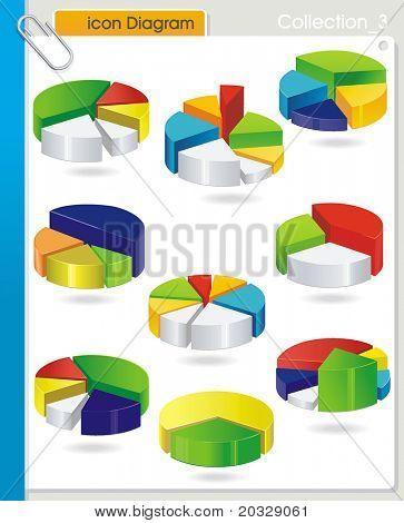 COLLECTION_3 Vector business graph set - colorful circular Pie diagram on white background. Abstract industry web symbols.