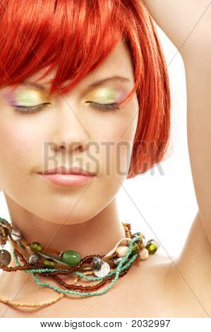 Green Beads Redhead With Eyes Closed
