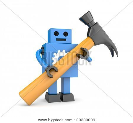 Robot with hammer