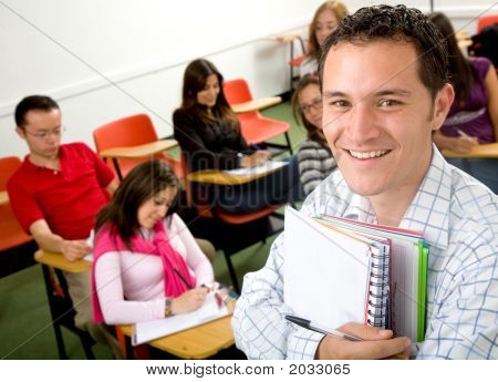 Casual Student Or Teacher In A Classroom