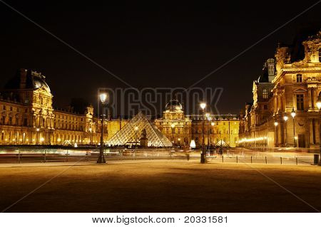 PARIS - JANUARY 1: Square with the equestrian statue of Louis XIV in front of Louvre at night, January 1, 2010, Paris, France. Louis XIV - King of France of Bourbon dynasty, who ruled in 1643-1715.