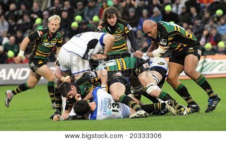 NORTHAMPTON, UK - DEC 06: Saints and Bath battle during their Premiership rugby match December 06, 2009 in Northampton, UK