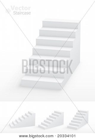 Collection of white 3d staircases. Vector illustration.