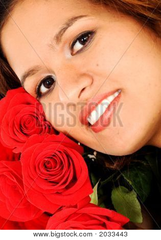 Beautiful Female Portrait With Roses