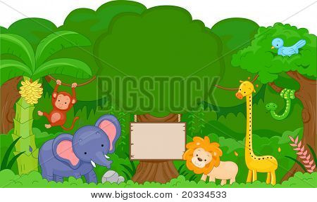 Illustration of Cute Jungle Animals with blank board