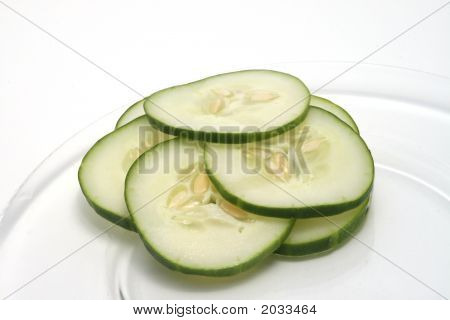 Sliced Cucumbers On A Plate
