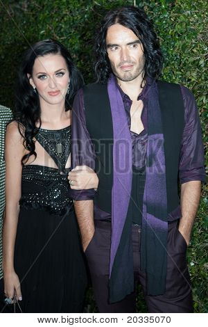 HOLLYWOOD, CA. - NOV 21: Katy Perry (L) & Russell Brand (R) arrive at the 2010 American Music Awards Rolling Stone Magazine VIP After Party on November 21, 2010 in Hollywood.