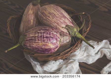 Purple Graffiti Eggplants On Vintage Background