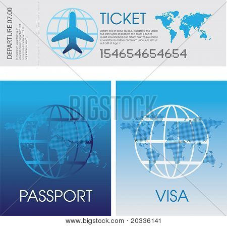 illustration of a set of generic airplane tickets, passport and visa documents
