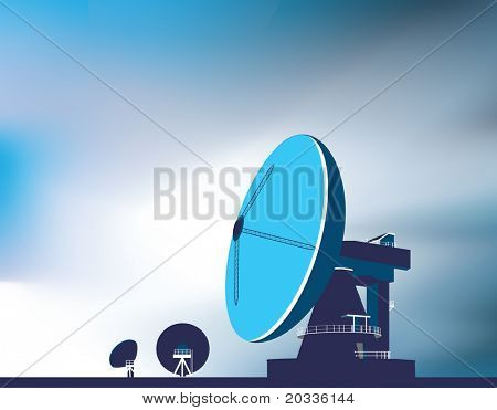 communication huge satellite dishes used to look into space and communicate