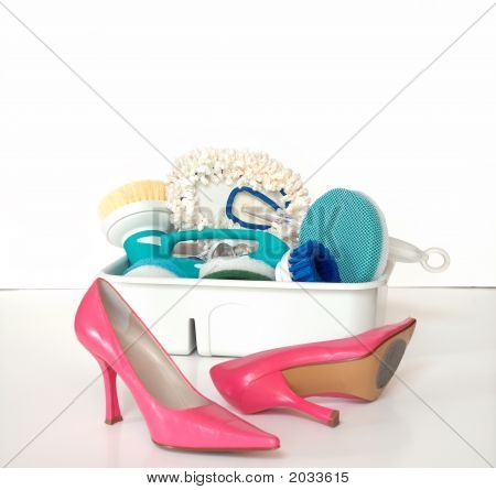 Cleaning Supplies And Pink High Heels