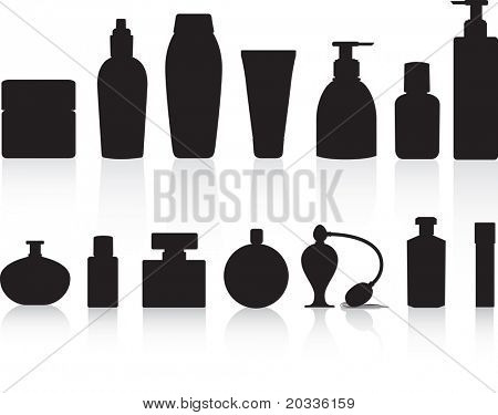 Perfume, lotions, potions and beauty product bottles as black detailed vector silhouettes