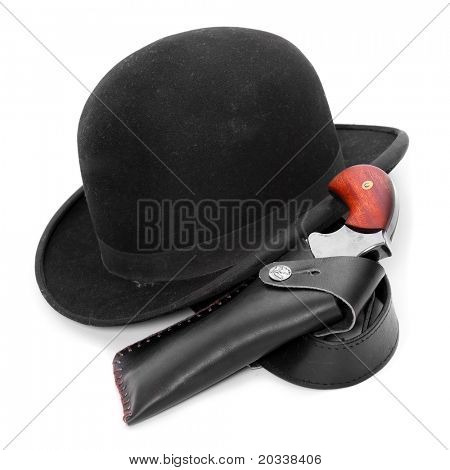 Black bowler hat and pistol, vintage detective equipment on white background.