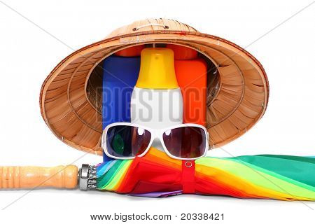 UV protection equipment for happy holidays. Sunglasses, hat, umbrella and sun lotion.