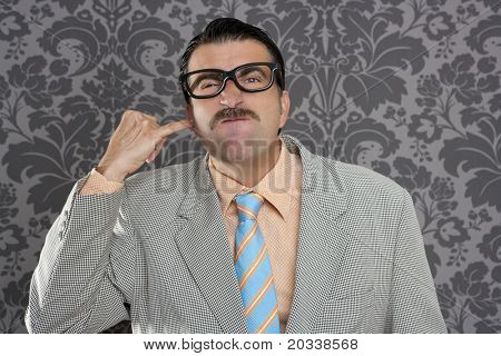 cleaning ear finger dirty nerd man retro wallpaper funny expression