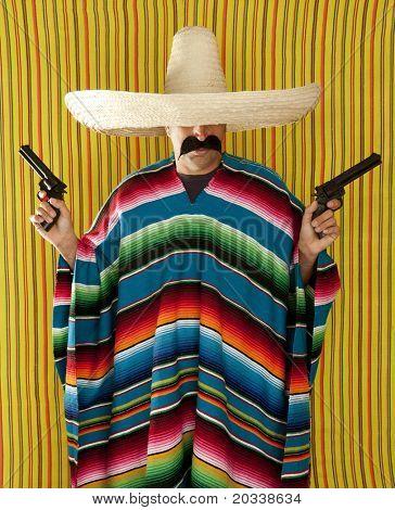 Bandit Mexican revolver mustache gunman sombrero poncho serape