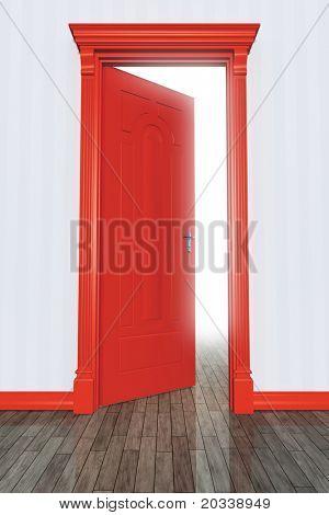 Una imagen de una puerta abierta del roja