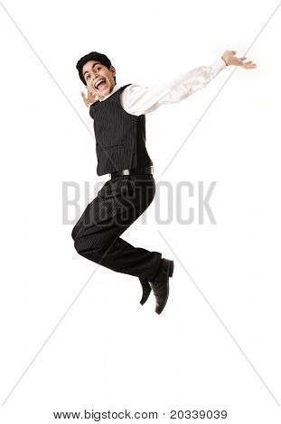 Young  teenager jumping in joy isolated over white background.