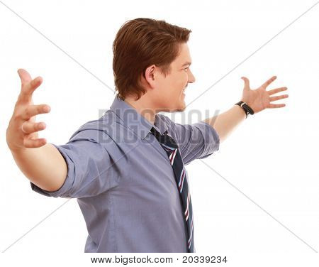A happy businessman with open hands, side-view