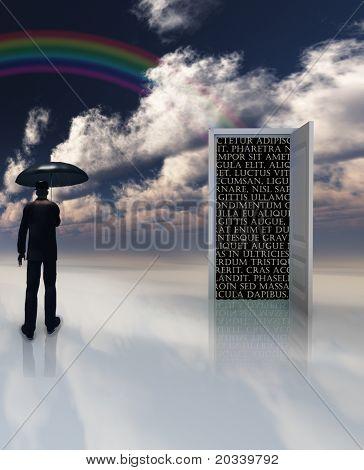 man with umbrella stands before doorway of text