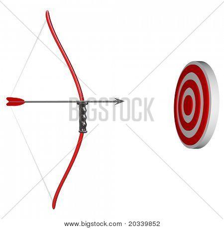 Un arco y la flecha se lleva a cabo con el objetivo de un objetivo ojo de buey, que representa la concentración medida concentran en suc