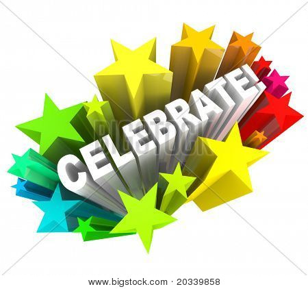 The word celebrate surrounded by shooting stars, symbolizing excitement for a party or celebration for one's success or special event