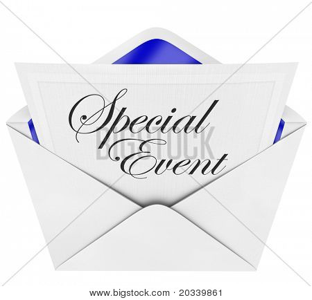 An opening envelope revealing a formal invitation to a special party or event, with the cursive hand-written words to invite you to the celebration