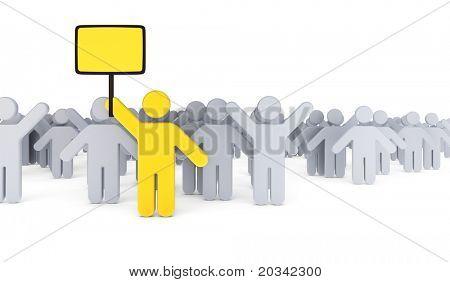 Greve de trabalhadores com líder segurando o cartaz, renderização em 3d