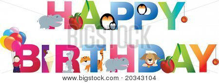 The word happy birthday  made up from alphabet cartoon letters with matching animals and objects