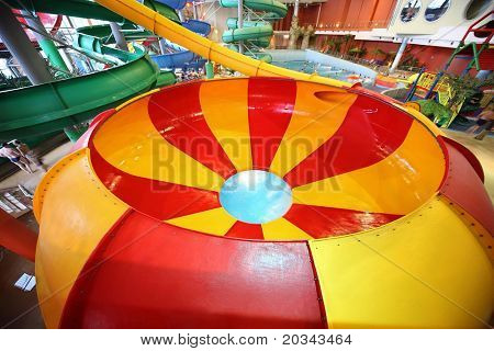 MOSCOW - MARCH 21: Striped round chute as spiral and childish pool in