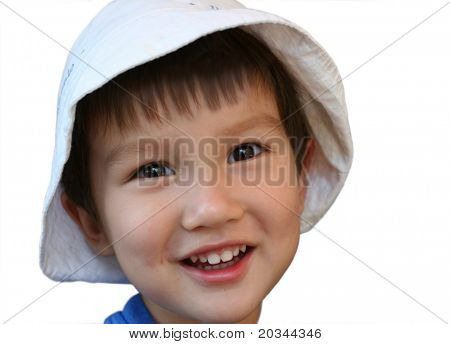 Smiling mixed Asian Caucasian 2 years old toddler isolated on white background