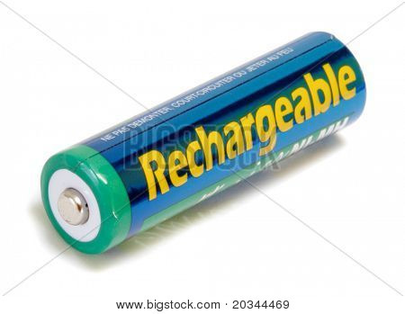 Rechargeable AA Battery isolated on white background