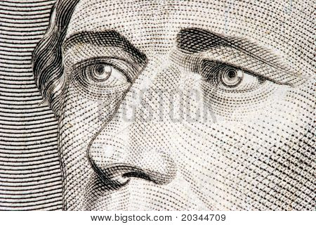 Secretary of the Treasury Alexander Hamilton close up from 10 dollar bill