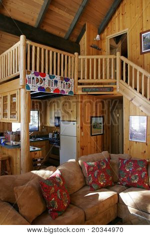 Inside a beautiful wooden house in a ski resort