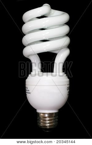 Energy Saving light bulb isolated on a black background.