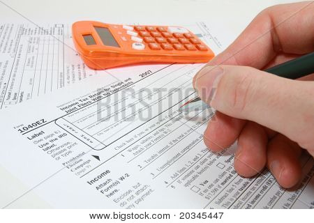 Filling out 1040EZ tax form