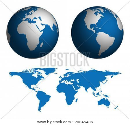 Globe und Karte der Welt. Karte wurde manuell in Illustrator von Public-Domain-Weltkarte verfolgt. n