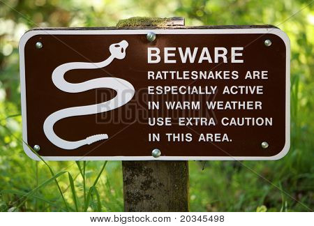 Stock photo : Rattlesnake Warning Sign