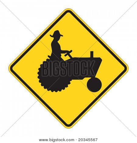 Tractor warning sign on white