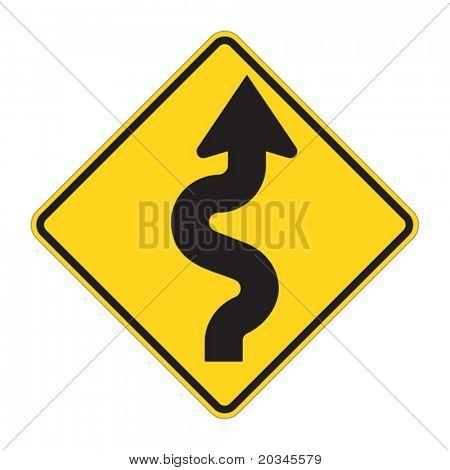 Straßenschild - Kurven voraus Warnung
