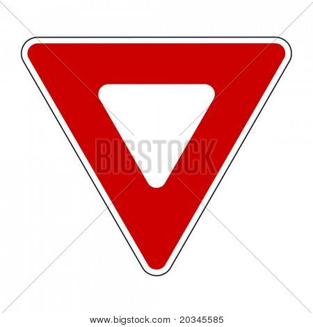 Vector illustration of Yield sign isolated on pure white