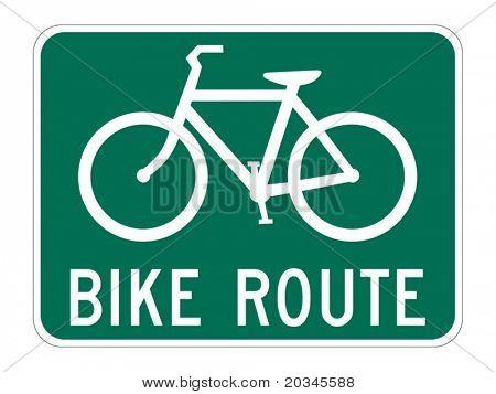 Signo de guía de ruta de bicicleta en blanco