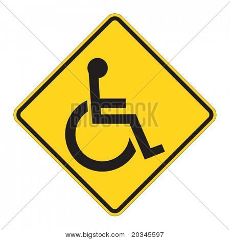 Disabled person warning raod sign