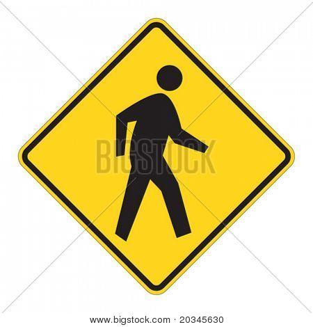 Pedestrian traffic warning on white