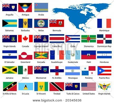 Detailed North American Flags and Map