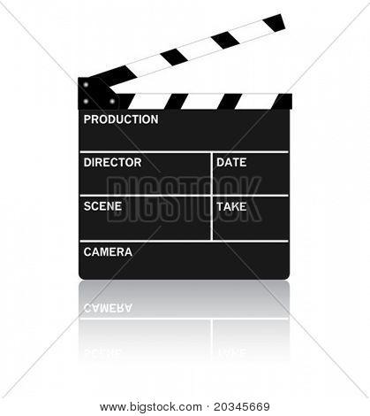 Área de transferência do filme em branco puro com reflexão.  Ilustração vetorial.