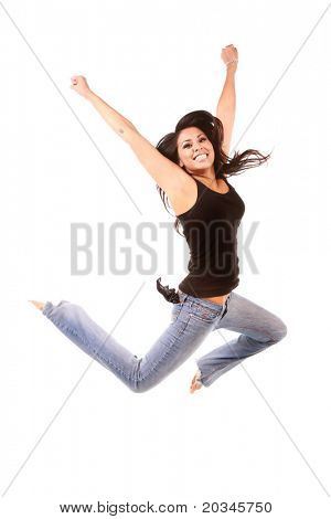 You multi-ethnic woman happy and jumping on pure white background