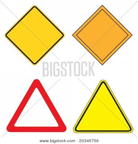 Set of 4 warning sign vector illustration