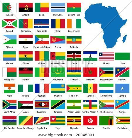 Detailed African flags and map manually traced from public domain map - also available in EPS format