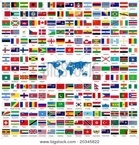vollständiger Satz von Flags of the World mit offiziellen Farben und Details alphabetisch sortiert